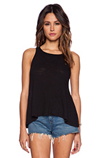 Cotton Slub Loose Tank in Black
