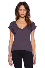 Light Weight Jersey V Neck Pocket Tee in Storm