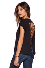 Pima Cotton Ripped Back Tee in Black