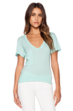 Light Weight Jersey V Neck Pocket Tee in Bubble Blue