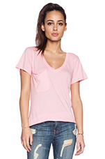Light Weight Jersey V Neck Pocket Tee in Bunny Pink