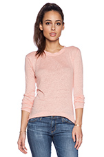 Solid Linen Long Sleeve Tee in Peachy