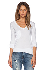 Light Weight Jersey Long Sleeve V Neck Pocket Tee in White