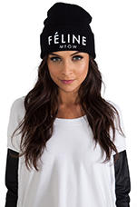 Feline Meow Unisex Beanie in Black/White