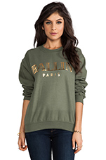 Ballin Sweatshirt in Military Green/Gold Foil
