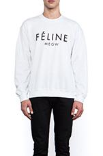 Feline Sweatshirt in White/Black