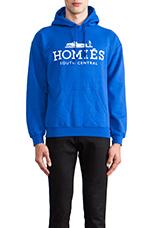 Homies Pullover Hoodie in Royal Blue/White