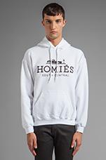 Homies Pullover Hoodie in White/Black