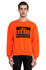 Homies Advisory Sweatshirt in Orange & Black
