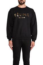 Feline Sweatshirt in Black/Gold