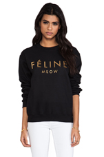 Feline Sweatshirt in Black/Gold