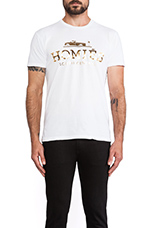 Homies Tee in White/Gold Foil