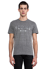 Feline Tee in Heather Grey/Silver Foil