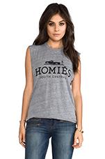 Homies Muscle Tee in Heather Grey/Black