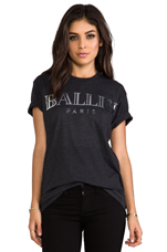 T-shirt Ballin en Gris Foncé/Argenté Brillant