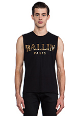Ballin Muscle Tee in Black/Gold Foil