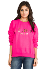 Feline Women Sweatshirt in Pink/Gold Foil