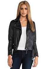 Leather Moto Jacket in Black
