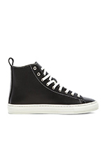 Bull Terrier Hi Smooth Leather in Black