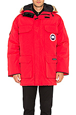 Expedition Parka with Coyote Fur Trim in Red