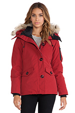 Montebello Parka With Coyote Fur Trim in Redwood