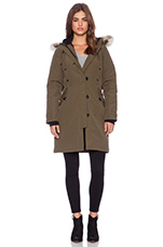 Kensington Parka with Coyote Fur Trim in Military Green