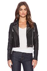 Studded Racing Moto Jacket in Black