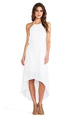 Asymmetric Hem Halter Dress in White