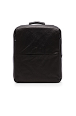 Rhine Flat Backpack in Coated Canvas Black