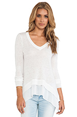 Sao Paulo Sheer Panel Pullover in White