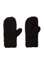 Diagonal Mittens in Black