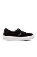 Velvet Slip-On Sneaker in Black