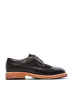 Long Wingtip Shoes with haircalf in Black Leather