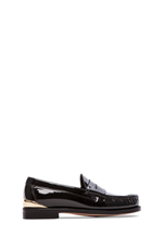 Heel Cup Penny Loafers in Black Patent