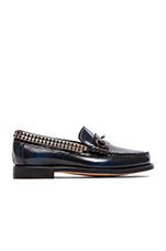 Bit Studs Loafers in Navy Leather