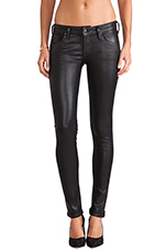 Racer Coated Skinny in Black