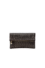 Clare Vivier Foldover Clutch in Black Lasercut