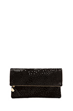 Foldover Clutch in Black Star Print