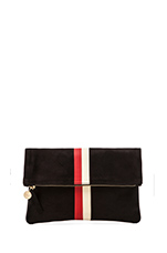 Foldover Clutch in Black w/ Red & Cream Stripes