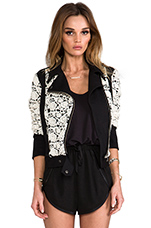 x REVOLVE Lace Moto Jacket in Black/White