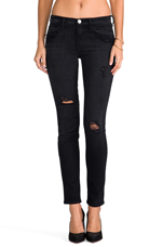 The Ankle Skinny in Black Destroy