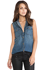 The Sleeveless Perfect Shirt in Miner