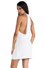 Draped Back Dress in White