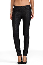 Faux Leather New York Skinny in Quilted Rinse