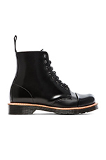 Charlton 8 Eye Toe Cap Boot in Black