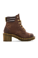 Alexandra 6-Eye Padded Collar Boot in Dark Brown
