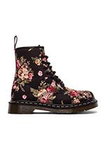 Print 8 Eye Boot in Black Victorian Flowers