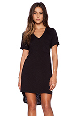 Rolled Sleeve V-Neck T-Shirt Dress in Black