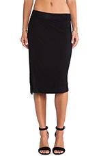 Side Slit Midi Skirt in Black