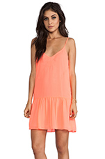 Tinsel Dress in Neon Coral